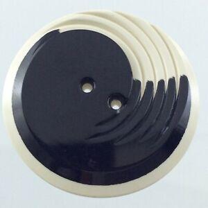 Vintage Molded Plastic White & Black Garment Button 1.3in Engraved Pattern 784C
