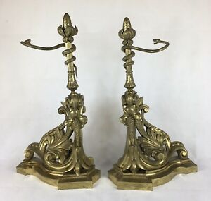 Antique Pair Of Gilt / Ormolu Andirons / Fire Dogs, (Fire Place) Rococo Revival