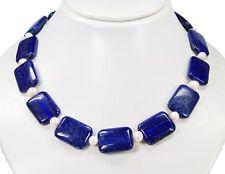 Schöne Kette aus Lapis Lazuli in Rechteckform mit Süsswasserperlen
