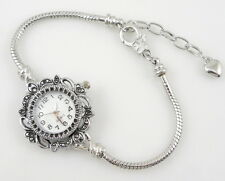 "5 Charm Watch Style Bracelet F/ European Bead 7.86"" WP1"