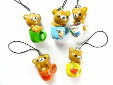 Free shipping 10 pcs mix cup bear figures mobile phone strap Charms