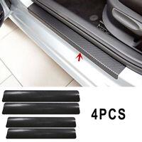 Black 3D Carbon Fiber Look Car Door Sill Scuff Plate Cover Anti Scratch Sticker