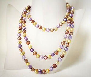 "48"" baroque Kakhi purple brown genuined freshwater pearl necklace marking supply"