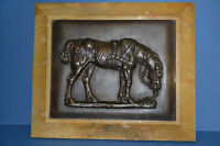 Antique 19th Century Bronze Plaque of a Horse in Marble/Onyx  Frame ,c 1880