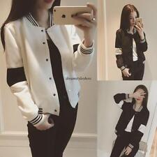 Korean Womens Casual Loose Slim Sport Baseball Jacket Short Coat Outwear Black S