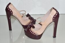 NEW MIU MIU Bow Mary Jane Platform PUMPS PATENT NUDE Pink WINE Burgundy SHOES 40