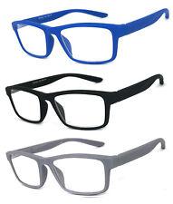 1 or 3 Pair Men Women Fashion Square Rubberized Frame Full Lens Reading Glasses