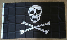 Skull with patch flag 3 X 5 ft. polyester 2 Grommet holes one side