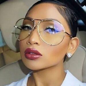 "XL  ""Posche OVERSIZED Women Eyeglasses Clear Lens Aviator  Square Shadz Gafas"