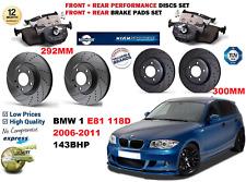 Para BMW 118D E81 2006-2011 Delantero Trasero Rendimiento Perforado Discos De Freno + Kit de almohadillas