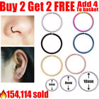 Surgical Steel Nose Ring Lip Nose Rings Cartilage Tragus Helix Ear Piercing Hoop <br/> 🔥160,872+ sold✔️Buy 2 Get 2 Free✔️EASY OPEN & CLOSE