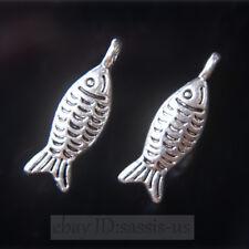 50pcs 19mm Charms Cute Fish Tibet Silver Pendants Connectors DIY Jewelry A7709