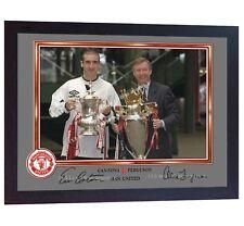 Alex Ferguson Eric Cantona Man United autographed signed photo print FRAMED