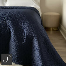 Luxury Embroidered Navy Blue Double / King Size Bedspread Throw Quilted