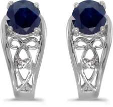 10k White Gold Round Sapphire & Diamond Earrings E2587W-09