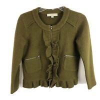 Ann Taylor LOFT Zip Up Sweater Ruffle Boxy Preppy Merino Wool Womens Size XS