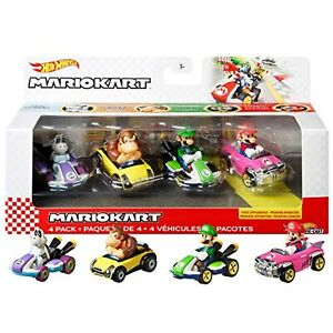 Hot Wheels Mario Kart 4 Pack Mario Badwagon Dry Bones Donkey Kong Luigi Die-Cast