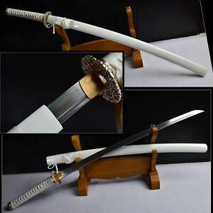 Damascus Folded Steel Japanese Samurai White Katana FULL TANG Brass Tsuba Battle