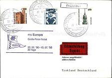 Schiffspost Brief Eilzustellung Schiff MS EUROPA Paquebot v.d. Polar-Reise 1996