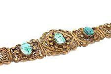 Vtg 1940s Modernist EGYPTIAN REVIVAL Gold Sterling? 800 Silver? 9k? Bracelet