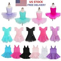 US Girls Gymnastic Camisole Leotard Ballet Dance Tutu Dress Ballerina Dancewear