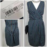 Closet Blu Striped Navy Pinstripe Shift Career Work Tie Belt Wrap Dress 10 A047