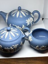 Vintage Wedgwood Blue Jasper Ware Teapot Creamer and Sugar Set