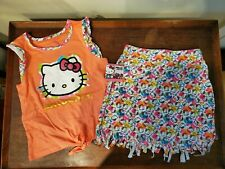 New! Hello Kitty Girls Skirt 2 Piece Set Size 10 - tie front, coral - Nwt!