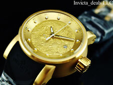 Invicta Men S1 Yakuza Dragon Automatic NH35A Gold Dial 18K Gold Plated SS Watch