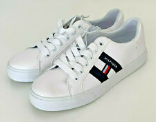 NEW! TOMMY HILFIGER LARRIA WHITE LEATHER SNEAKERS SHOES 5.5 35.5 SALE