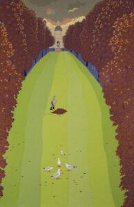 Anne Marie GRAHAM Lovers in Autumn - Big Original Signed Screenprint, Landscape