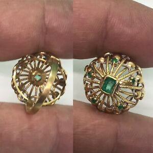 Vintage Natural Colombian 18ct Yellow Gold Dom Shape 6 Pieces Emerald Ring