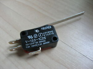 "Omron Micro Limit Switch V-153-1C25 with 2"" 50.8mm Lever 15A 125/250VAC #E66B"