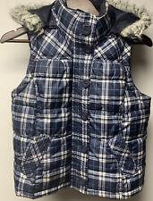 Abercrombie Medium Blue Plaid Fur Trim Hooded Puffy Vest Missing Back Button