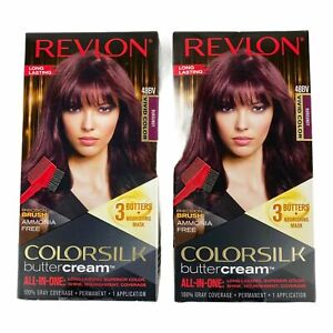 2 Revlon ColorSilk ButterCream Permanent Hair Color #48BV BURGUNDY