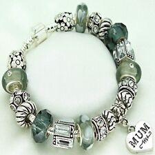 Womens Jewellery Grey Bracelet Mum Mummy Mother Beads Birthday Christmas Gifts