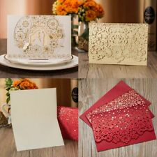 1pcs Gold White Red Luxury Flora Laser Cut Wedding Invitations Card Elegant New