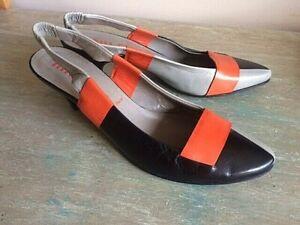 MIU MIU Prada leather color block slingback shoes pumps heels  38