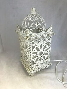 "Ornate Metal Cream Shabby Moroccan Style Lantern Lamp Home Ornament 17""     W9"