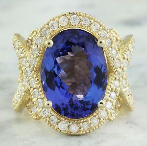 10.61 Carat Natural Tanzanite 14K Yellow Gold Diamond Ring