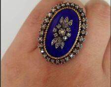 Silver & Enamel Ring Gift Jewelry Estate 2.12ct Rose Cut Diamond 925 Sterling