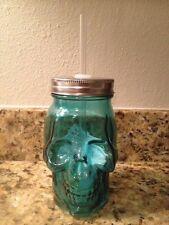 """Teal Blue Skull Bone Face Glass Mason Jar Tumbler Lid Straw 6"""" Tall GIFT NEW"""