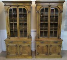 KARGES WALNUT CHINA CABINETS, CUPBOARDS, CURIOS, PAIR