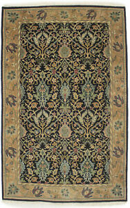 5X7 Extra Fine Black Floral Agra Jaipur Oriental Rug Hand-Knotted Carpet 4'6X6'6