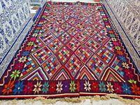 "Vintage Moroccan Rug Handmade Kilim Carpet Wool Tribal Old Azilal 10'6"" X 7'2"""