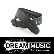 DSL Padded Leather Guitar Strap - Black with Black Back - GEG25-15-1