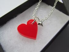 Red & Silver Love Heart Pendant Chain Necklace  Handmade - Boxed Gift 12541