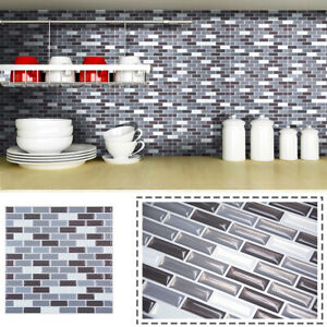 3D Mosaic Self Adhesive Wall Tile Brick Sticker Bathroom Kitchen Waterproof DIY