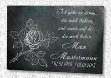 Grabstein Gedenktafel Grabplatte Urne Gedenkplatte Motiv Bodenrose 22x16cm
