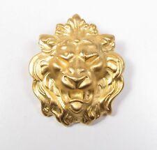 Brushed Gold Lion Face Brooch Pin Leo Lioness Vintage King of the Jungle Vtg